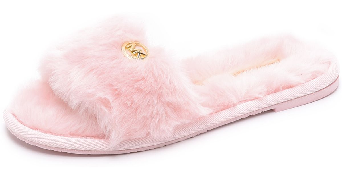6c6dbf3909c5 Lyst - MICHAEL Michael Kors Jet Set Faux Fur Slide Slippers - Black in Pink