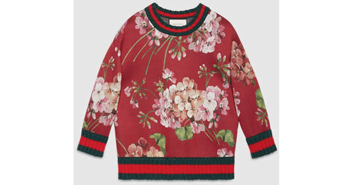 Gucci Blooms Print Jersey Sweatshirt in Red | Lyst