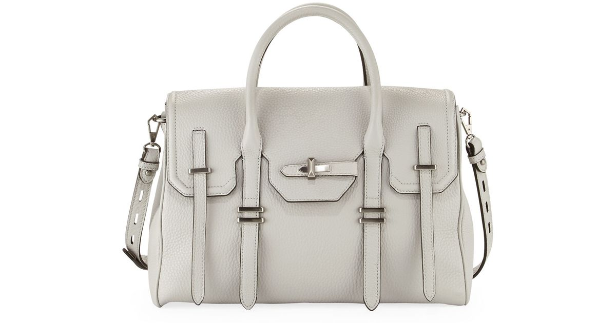 Lyst Rebecca Minkoff Jules Pebbled Leather Satchel Bag Pale Gray In