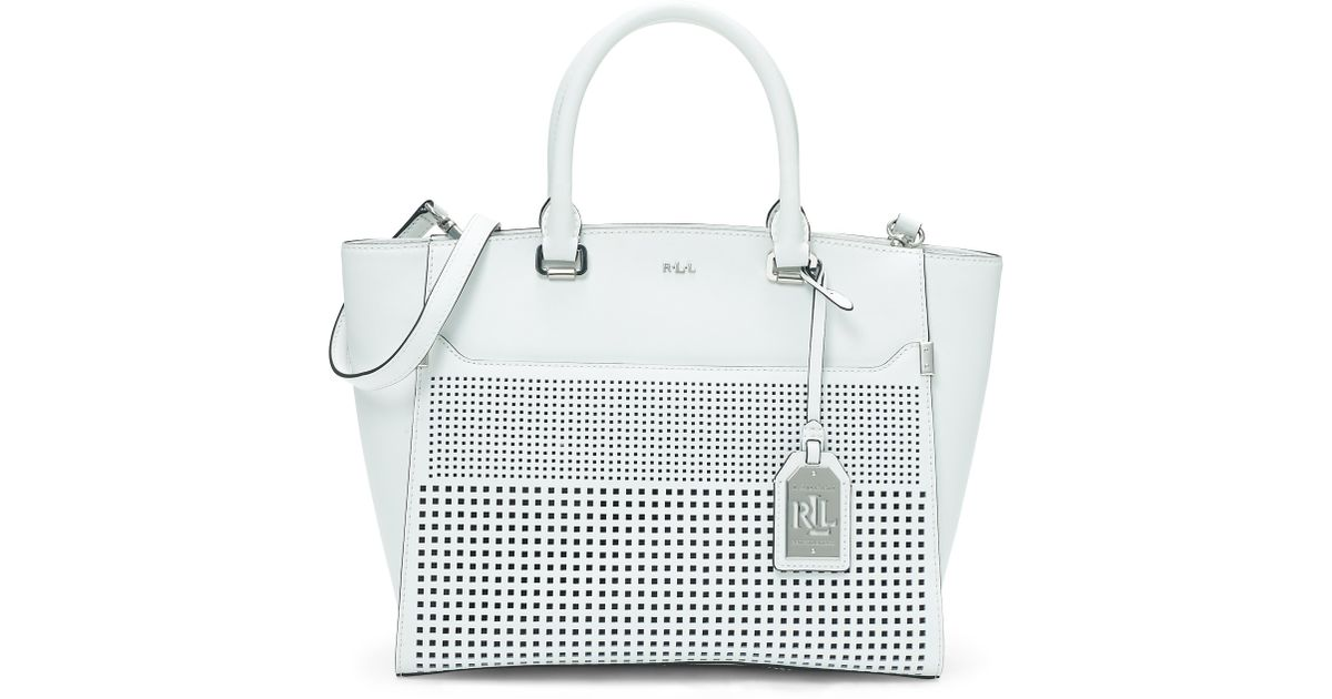 a6cc82a72709 Lyst - Ralph Lauren Sutton Cutout Leather Tote in White