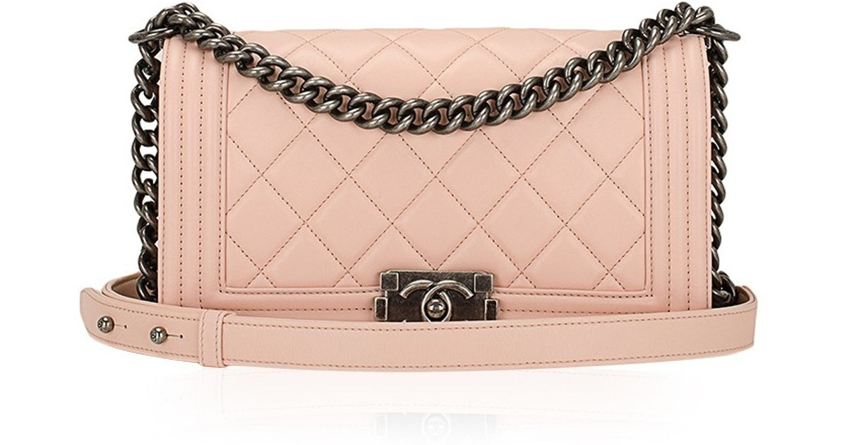 2bf263b15c06 Lyst - Madison Avenue Couture Chanel Nude Pink Quilted Calfskin Medium Boy  Bag in Pink