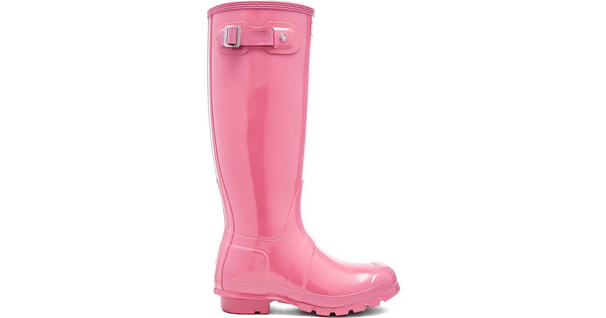 Lyst Hunter Original Tall Gloss Rubber Rainboots In Pink