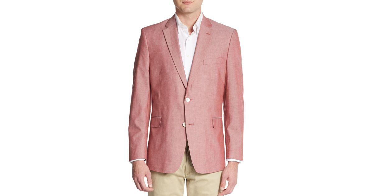 Tommy Hilfiger Chambray Linen Sport Jacket In Red For Men