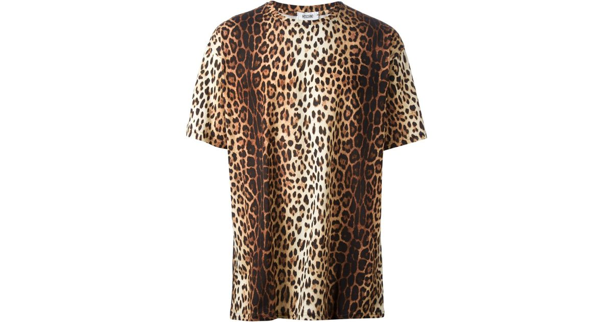 2bbc42e738ab89 Lyst - Moschino Leopard Print T-Shirt in Brown for Men