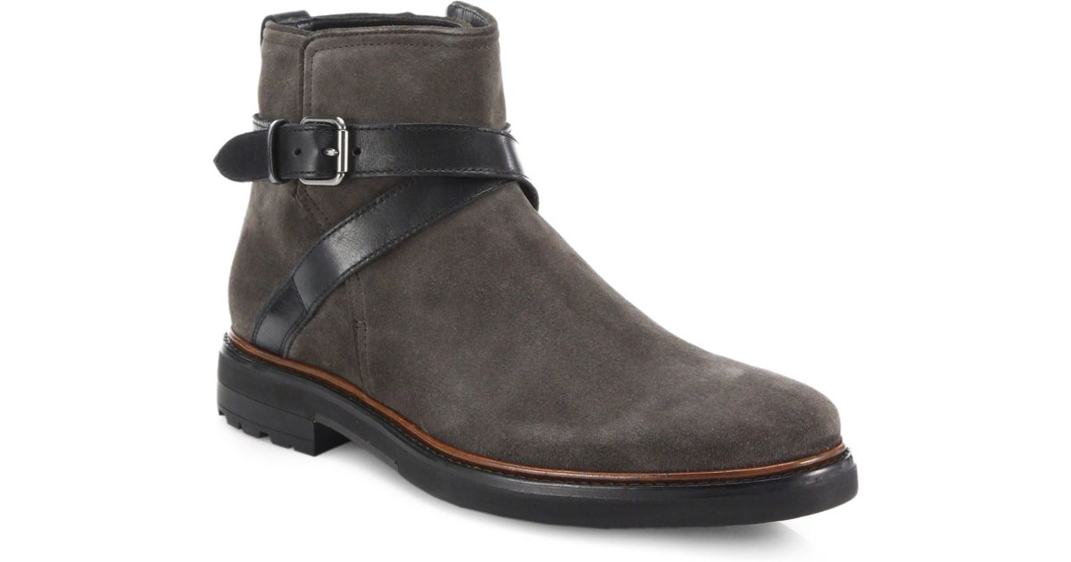 Coach Bryant Strap Suede Amp Leather Chelsea Boots In Gray