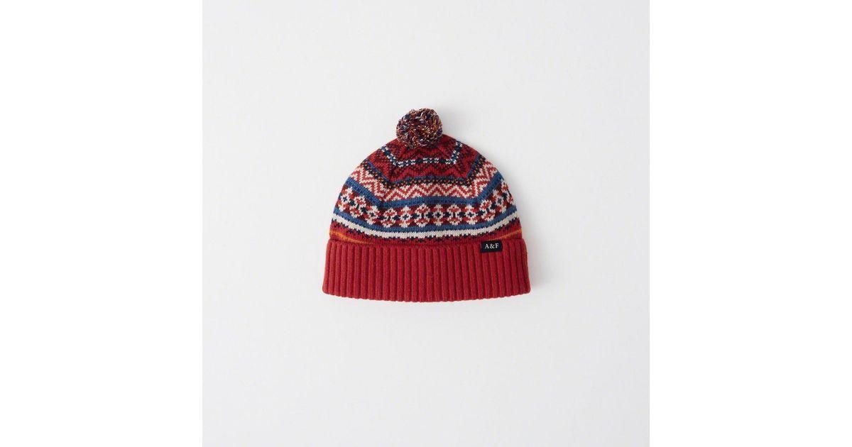 71f837fcc1c Lyst - Abercrombie   Fitch Cozy Knit Pom Beanie in Red