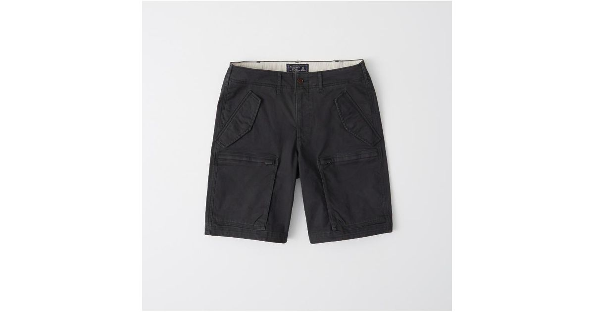 4bfdf62118 Lyst - Abercrombie & Fitch Cargo Flight Shorts in Black for Men