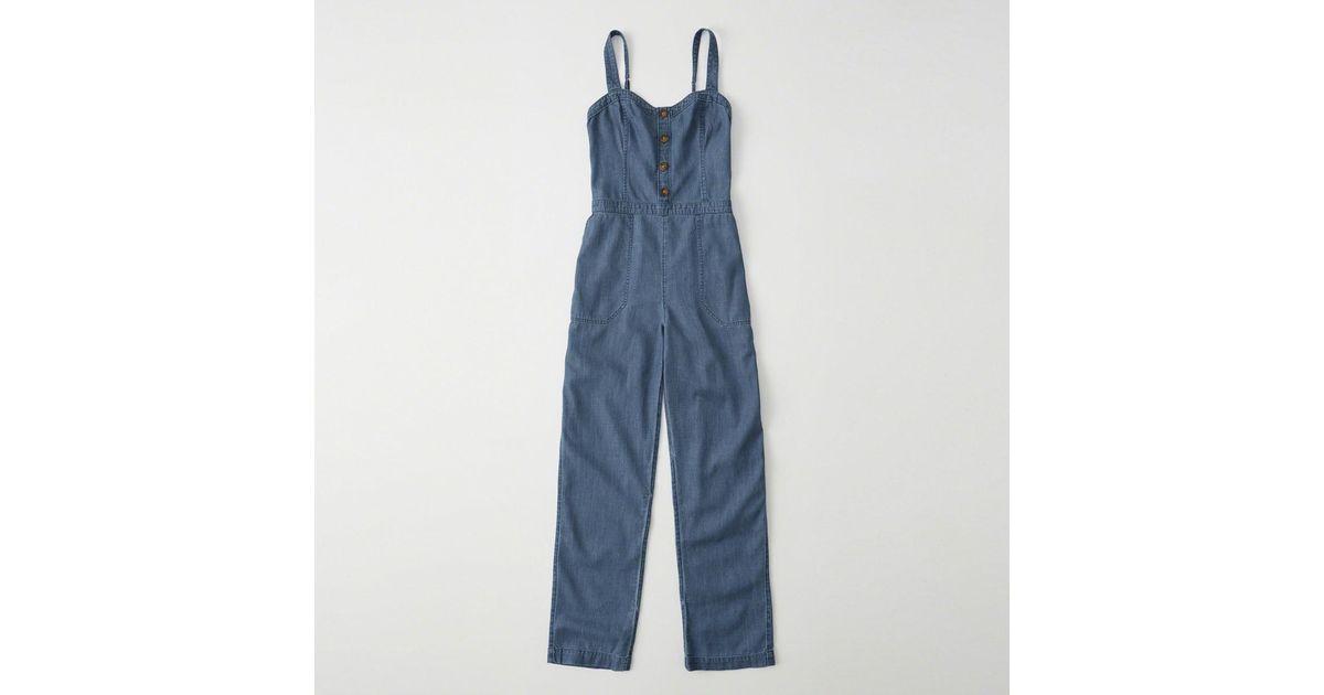 c28f91a77433 Lyst - Abercrombie   Fitch Denim Jumpsuit in Blue