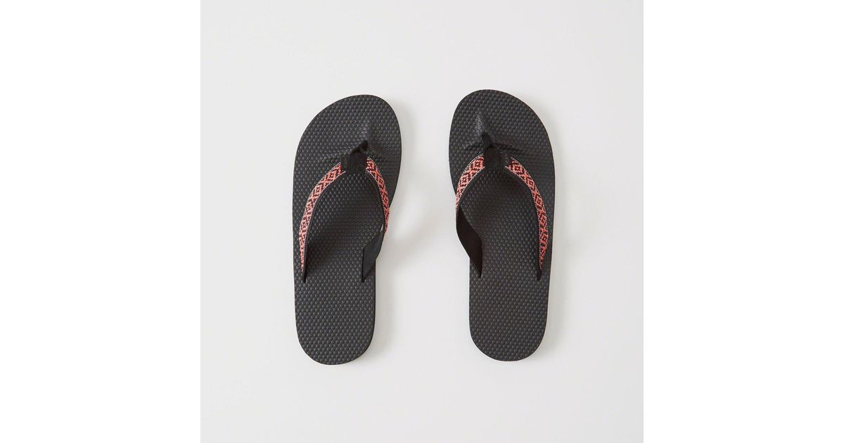 5b1ff6bb7cc754 Lyst - Abercrombie   Fitch Mixed Media Rubber Flip Flops in Black