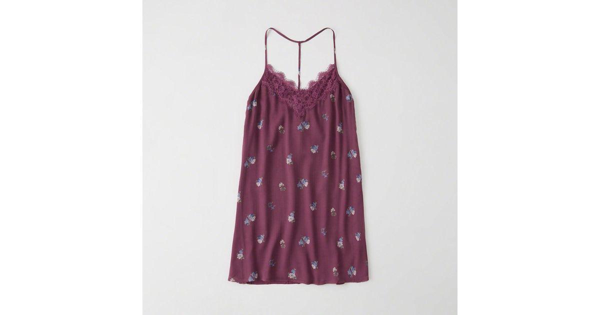 3acc53f474cb Lyst - Abercrombie & Fitch Lace Trim Swing Dress in Purple