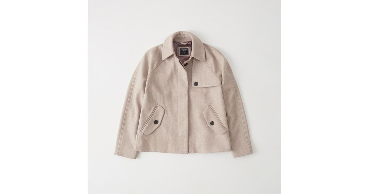 Abercrombie And Fitch Clothing Abercrombie And Fitch Hoodies Abercrombie And Fitch Jackets Abercrombie And Fitch Sweater: Abercrombie & Fitch Wool Swing Coat In Natural