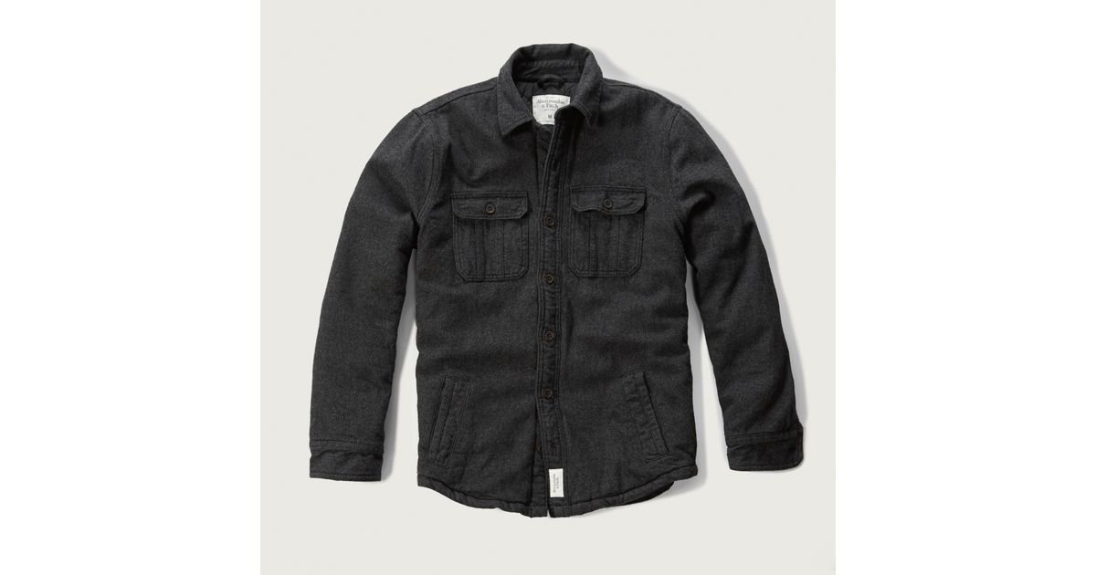862237d79b7 Lyst - Abercrombie   Fitch Flannel Shirt Jacket in Black for Men