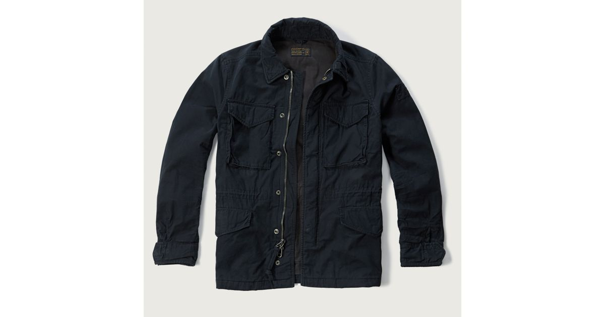 Abercrombie And Fitch Clothing Abercrombie And Fitch Hoodies Abercrombie And Fitch Jackets Abercrombie And Fitch Sweater: Abercrombie & Fitch Twill Military Jacket In Blue For Men