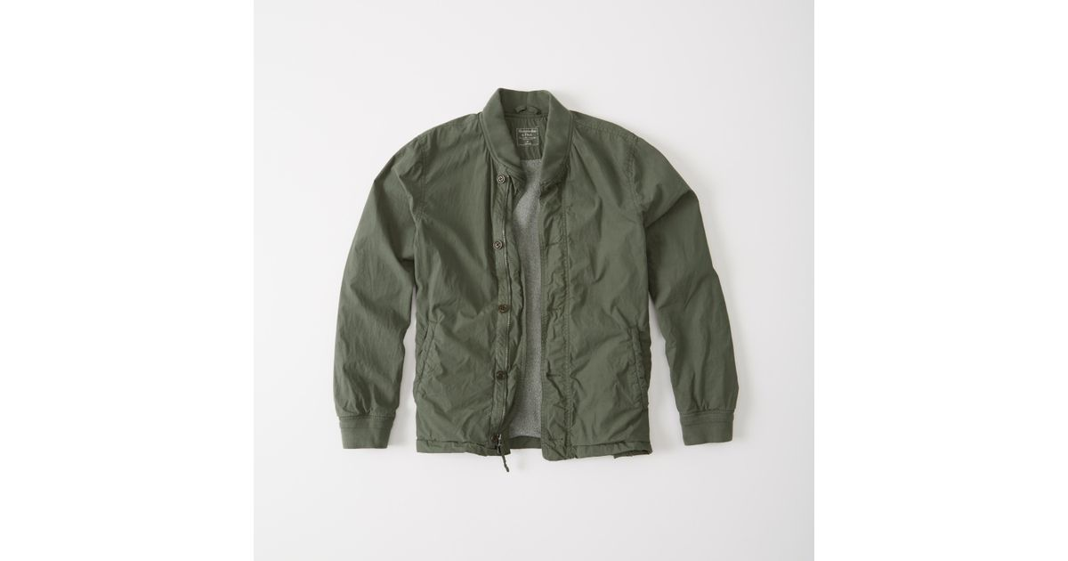 Abercrombie And Fitch Clothing Abercrombie And Fitch Hoodies Abercrombie And Fitch Jackets Abercrombie And Fitch Sweater: Abercrombie & Fitch Garment Dye Bomber Jacket In Green For