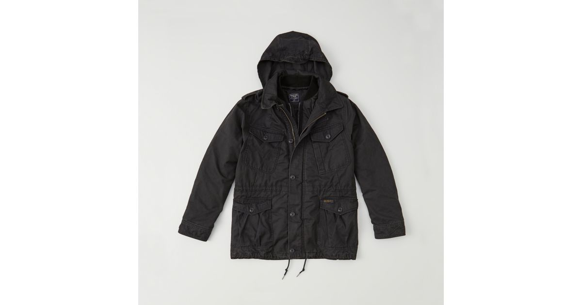 Abercrombie And Fitch Clothing Abercrombie And Fitch Hoodies Abercrombie And Fitch Jackets Abercrombie And Fitch Sweater: Abercrombie & Fitch Military Field Jacket In Black