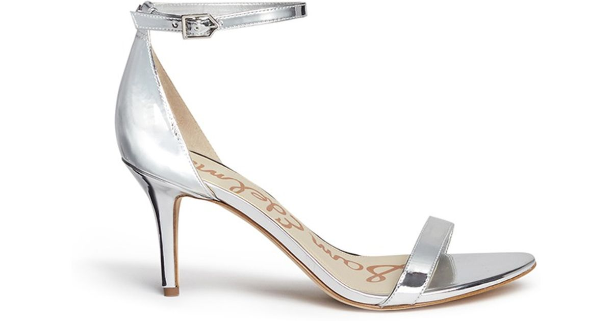 b85a763b8fa Lyst - Sam Edelman  patti  Ankle Strap Mirror Sandals in Metallic