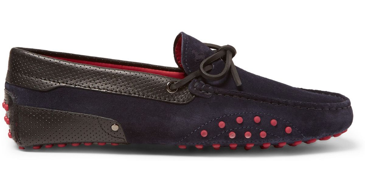 119572c6752 Lyst - Tod s Ferrari Gommino Suede And Leather Driving Shoes in Blue for Men
