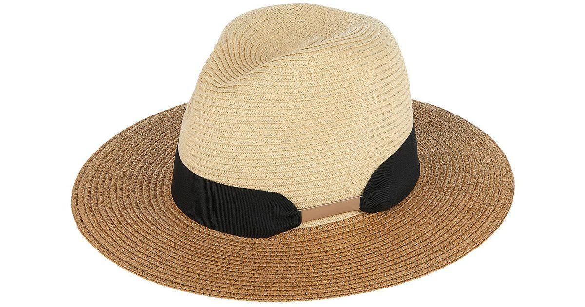 3047b43c20f1 Accessorize Metallic Chic Braid Fedora Hat in Natural - Lyst