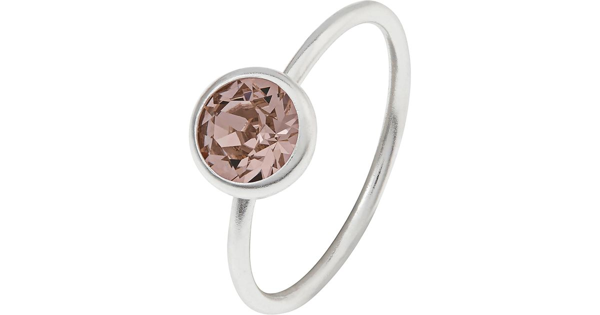 82ddc41b4 Accessorize Sterling Silver Solitaire Ring With Swarovski® Crystal in Pink  - Lyst