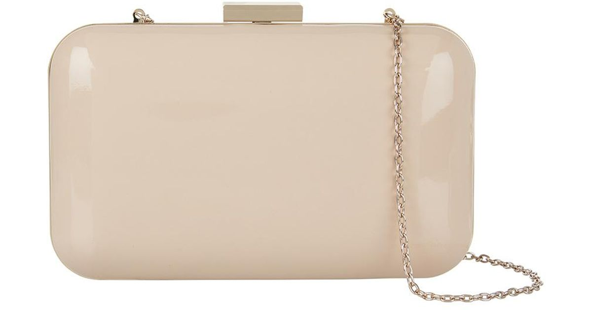 Accessorize Finlay Patent Hardcase Clutch Bag in Natural - Lyst 66acffceb