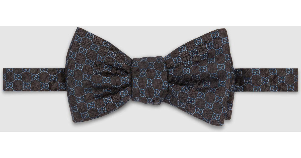 Lyst Gucci Gg Pattern Silk Bow Tie In Black For Men
