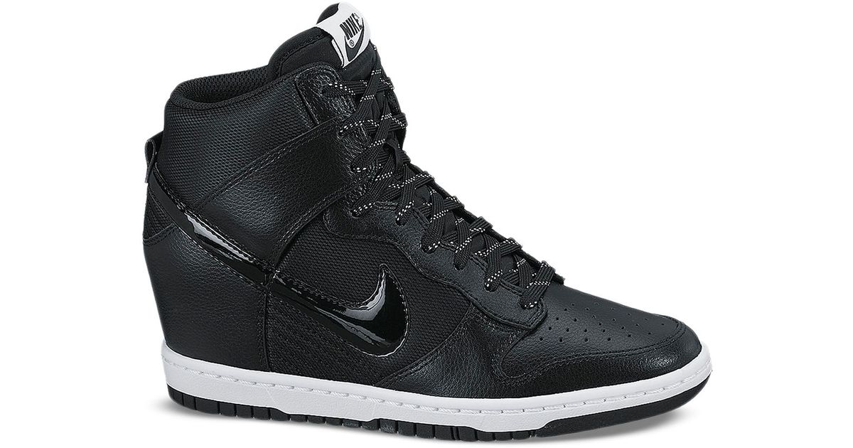 Lyst - Nike Lace Up High Top Wedge Sneakers - Women S Dunk Sky Hi Embossed  in Black 300570224c4f