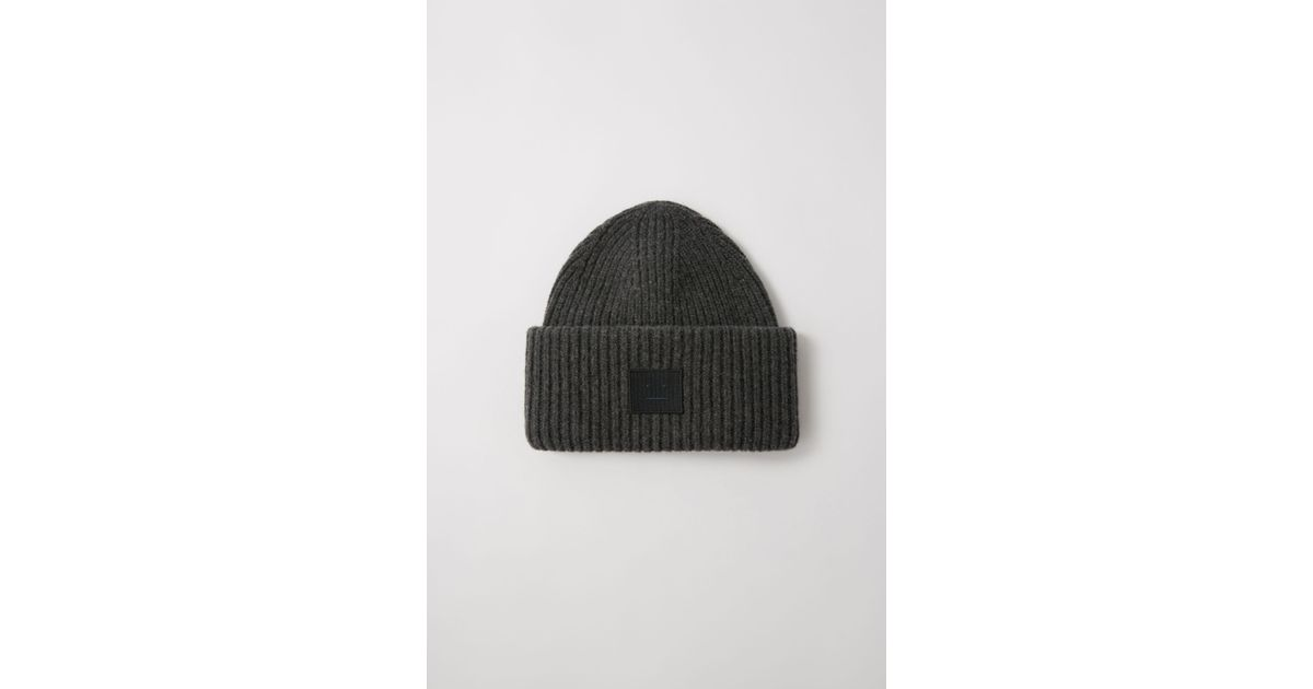 e01a535cc86 Lyst - Acne Studios Pansy N Face Charcoal Melange Ribbed Beanie Hat in Gray  for Men