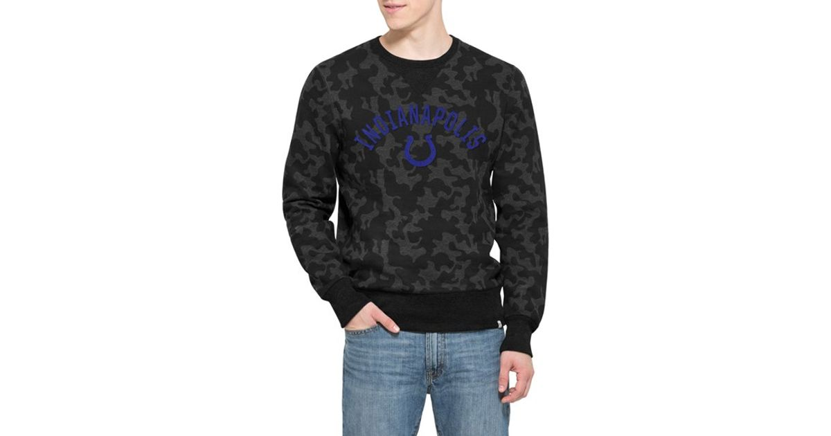 acd2a10ee Lyst - 47 Brand  indianapolis Colts - Stealth  Camo Crewneck Sweatshirt in  Black for Men