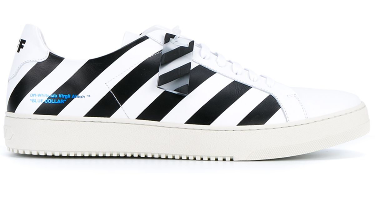 Lyst - Off-White CO Virgil Abloh Striped Leather Sneakers in White for Men