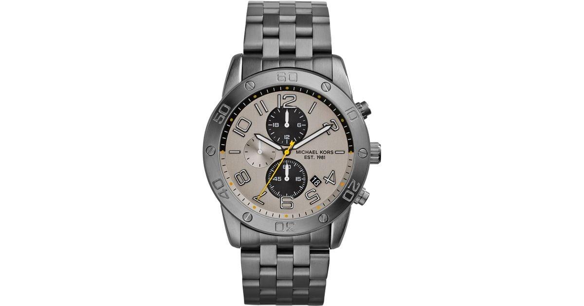88077d650e9a Lyst - Michael Kors Mens Gunmetal Stainless Steel Mercer Chronograph Watch  in Gray for Men