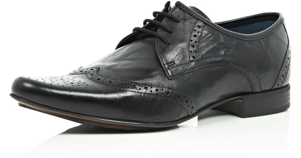 River Island Black Leather Formal Brogues Where To Buy How