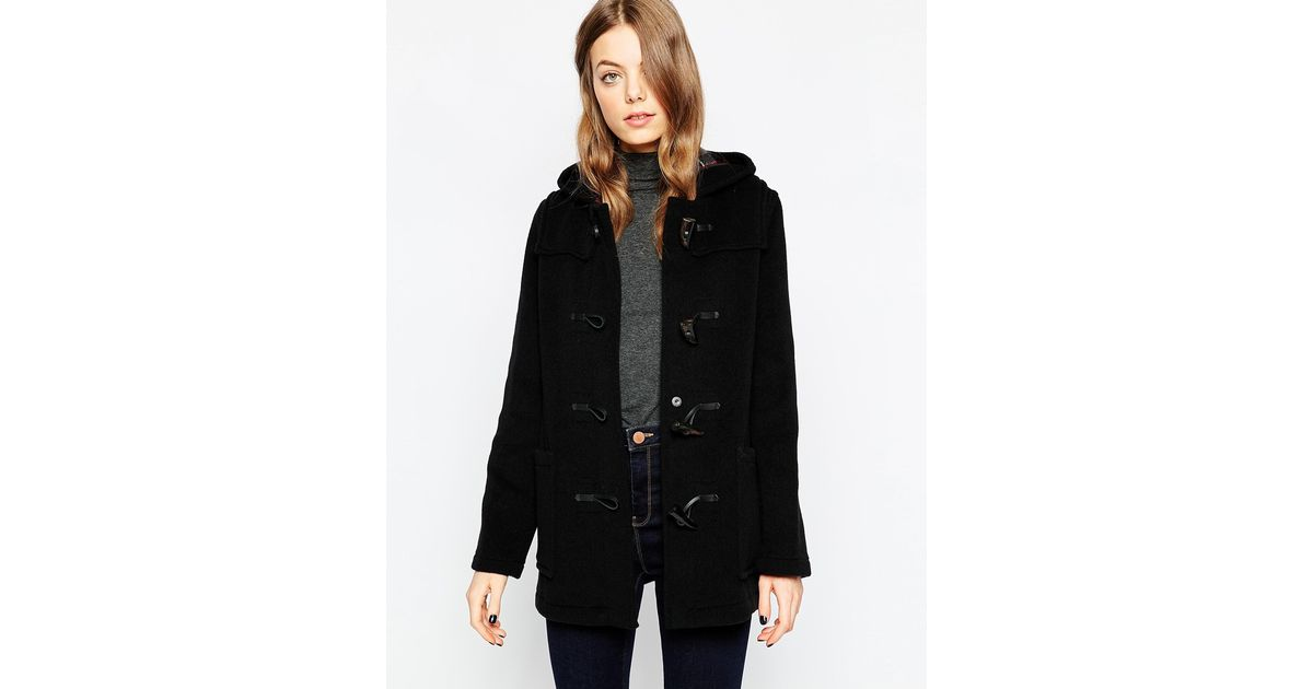 Gloverall Long Duffle Coat in Black | Lyst