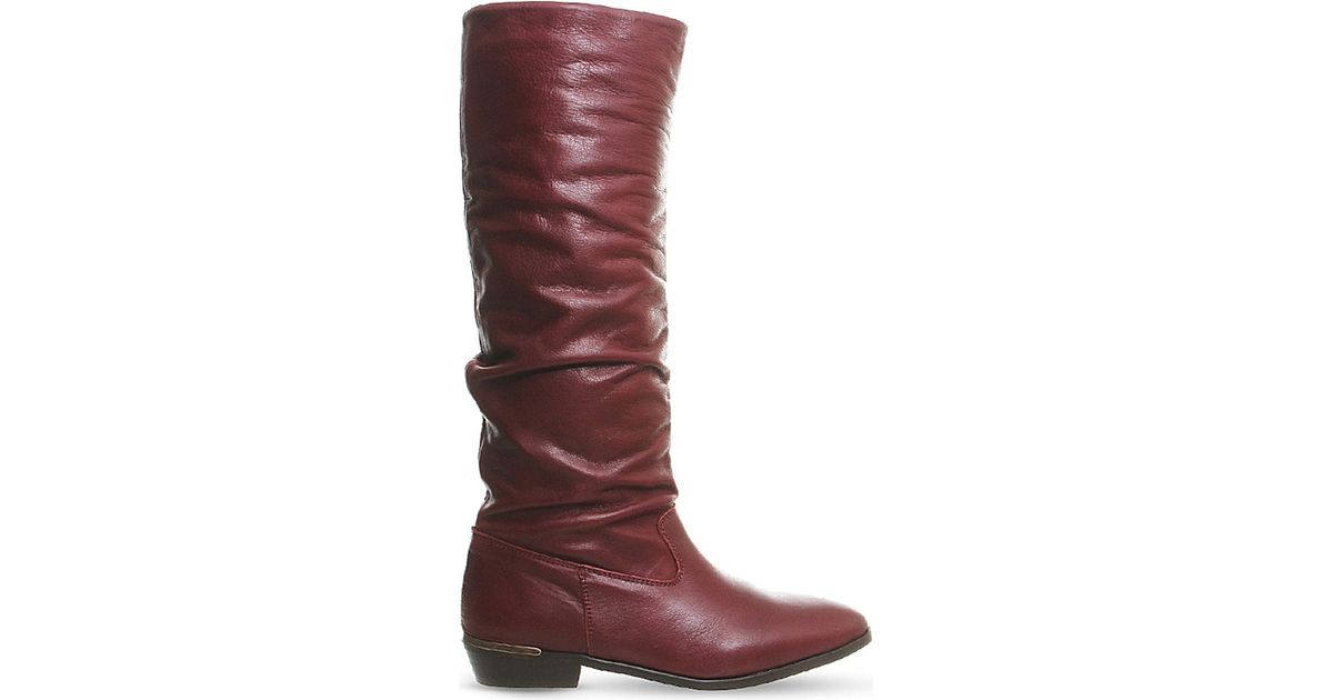 wholesale watch great prices Office Purple Eliza Leather Knee-high Boots