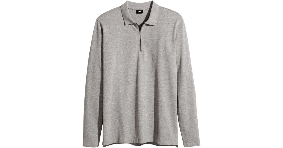 31faf5a87 H&M Long-sleeved Polo Shirt in Gray for Men - Lyst