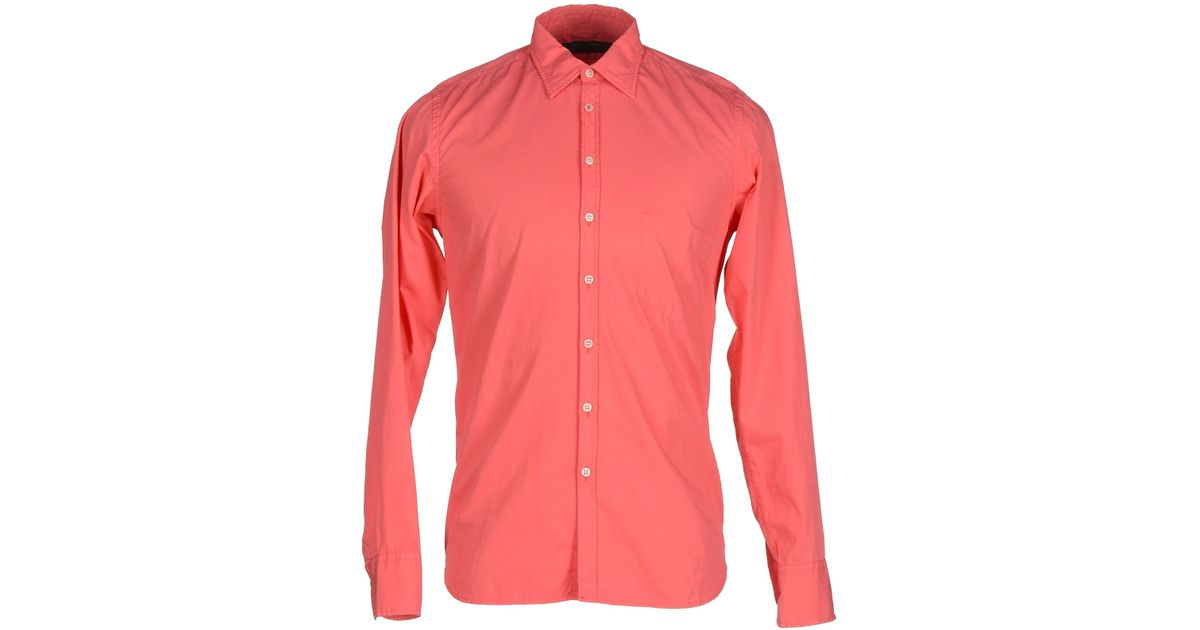 Dondup shirt in pink for men coral save 75 lyst for Coral shirts for guys