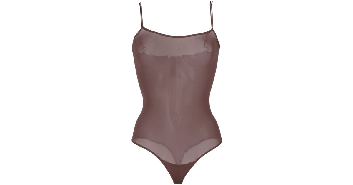 Lyst - Wolford Bodysuit in Brown 8e2704a5f6c8