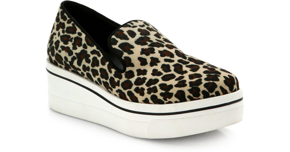 1b5825c61ab8 Stella McCartney Leopard-Printed Canvas Platform Sneakers - Lyst