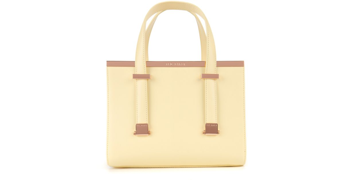 75542d0dd02e2a Ted Baker Leather Metal Bar Tote Bag in Yellow - Lyst