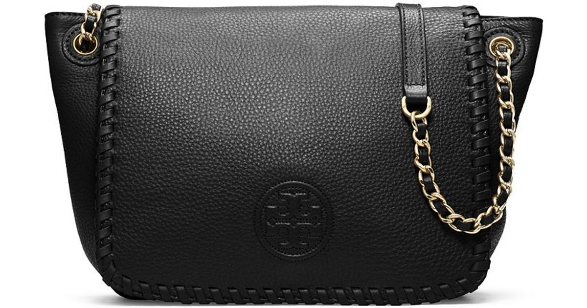 Lyst - Tory Burch Marion Small Flap Shoulder Bag in Black 1eabe416f