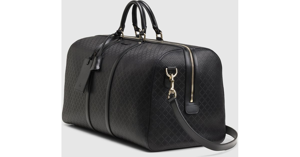 747f7457cb7 Lyst - Gucci Bright Diamante Leather Carry-on Duffle Bag in Black for Men