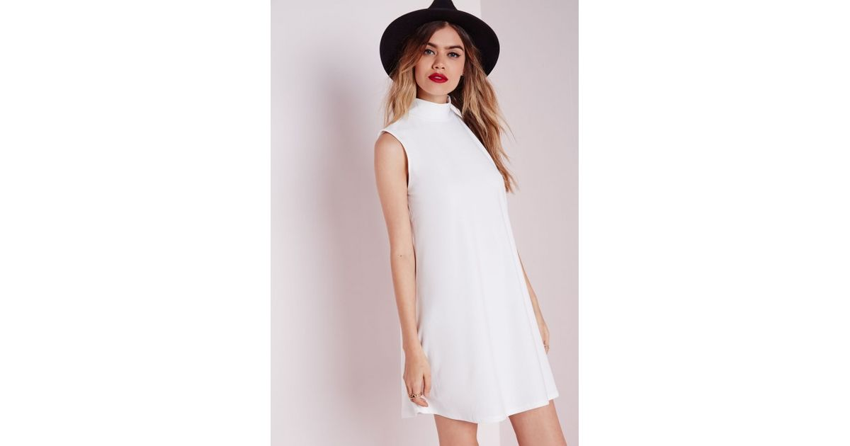 4ef7c05ef53fe Lyst - Missguided High Neck Swing Dress White in White