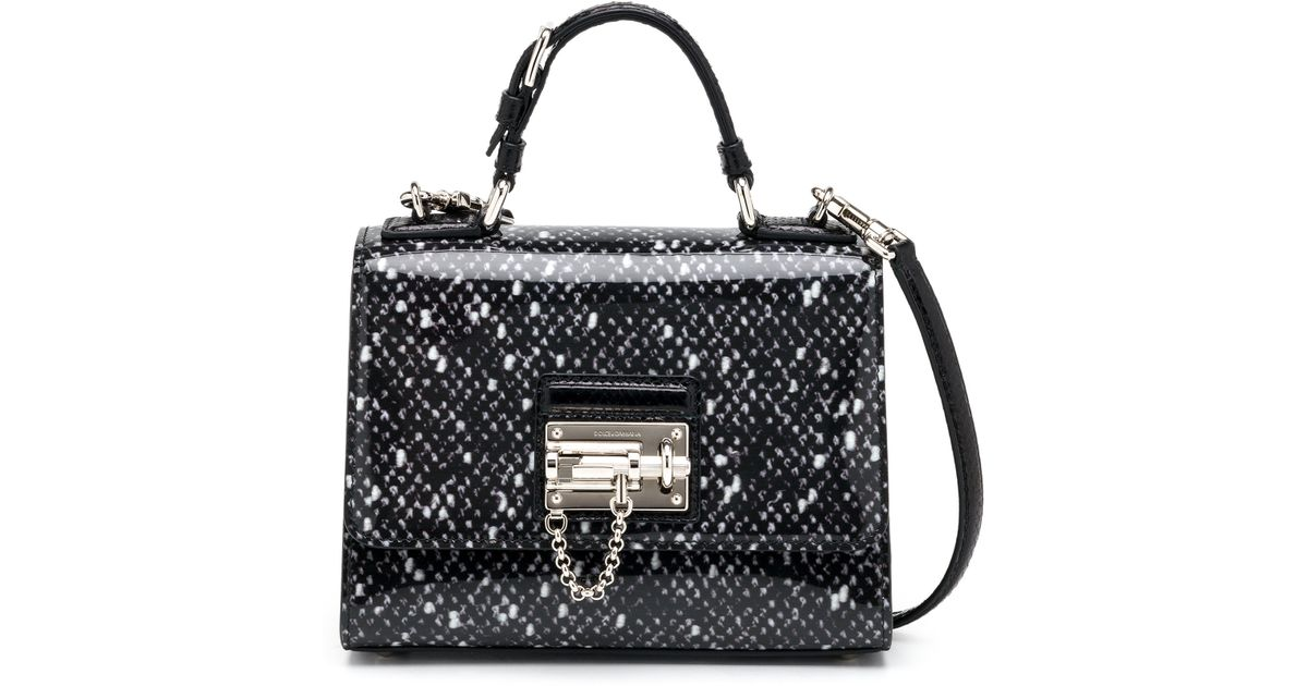 Lyst - Dolce   Gabbana Monica Small Spotted Patent Leather   Ayers  Top-handle Bag in Black 530f27a3505a4