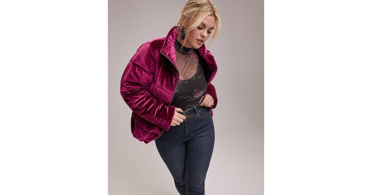 dc01b89e831 Lyst - Addition Elle Velvet Quilted Puffer Jacket - Livik