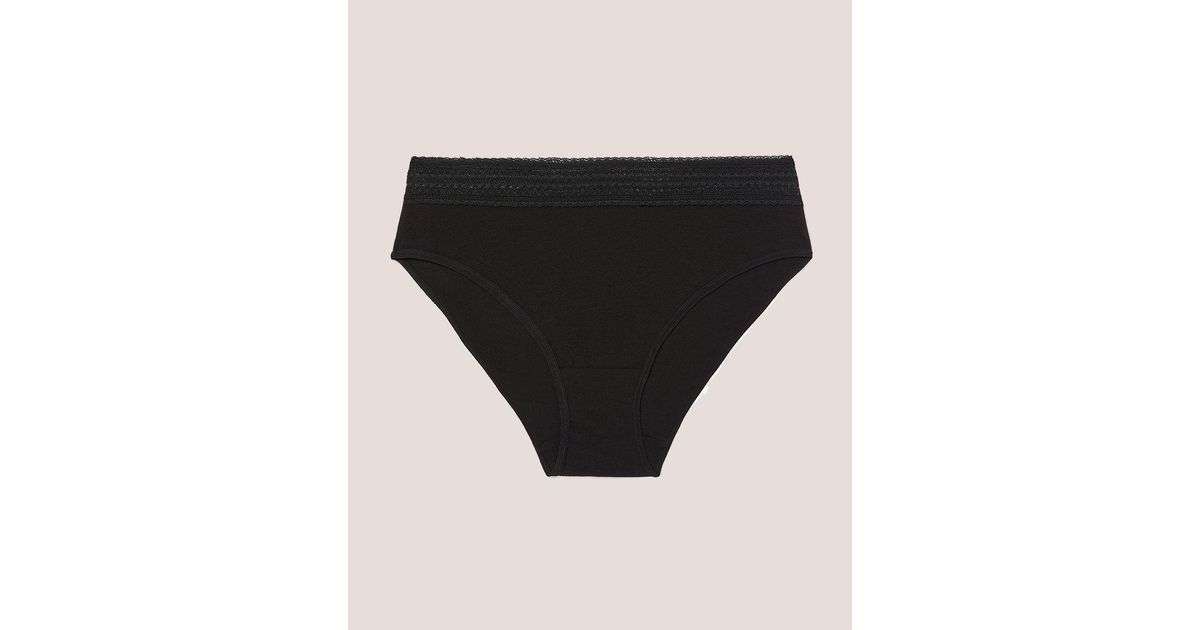 d8b767070 Lyst - Addition Elle High Cut Cotton Panty With Lace Waistband - Déesse  Collection in Black