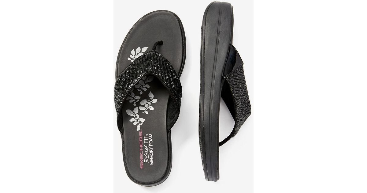 33dc59b848d83e Lyst - Addition Elle Online Only - Wide Width Rhinestone Thong Sandals -  Skechers in Black