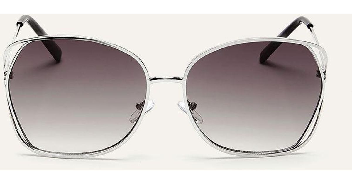 a67dd82365d Lyst - Addition Elle Metallic Sunglasses With Side Double Frame in Metallic