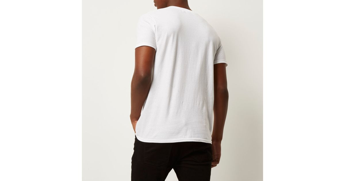 River island white the bronx print t shirt in black for for T shirt printing bronx