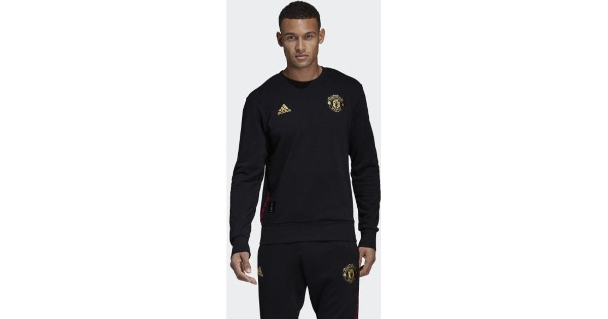 new styles fe94d fb834 Lyst - adidas Manchester United Chinese New Year Sweatshirt in Black for Men