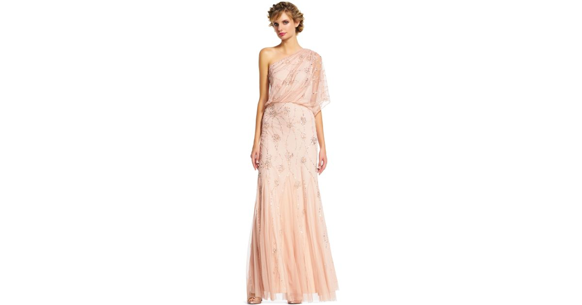 Lyst - Adrianna Papell One Shoulder Beaded Gown in Pink