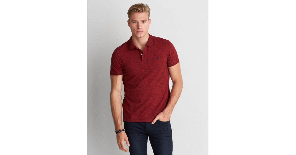 27c8a32a Lyst - American Eagle Ae Solid Pique Flex Polo in Red for Men